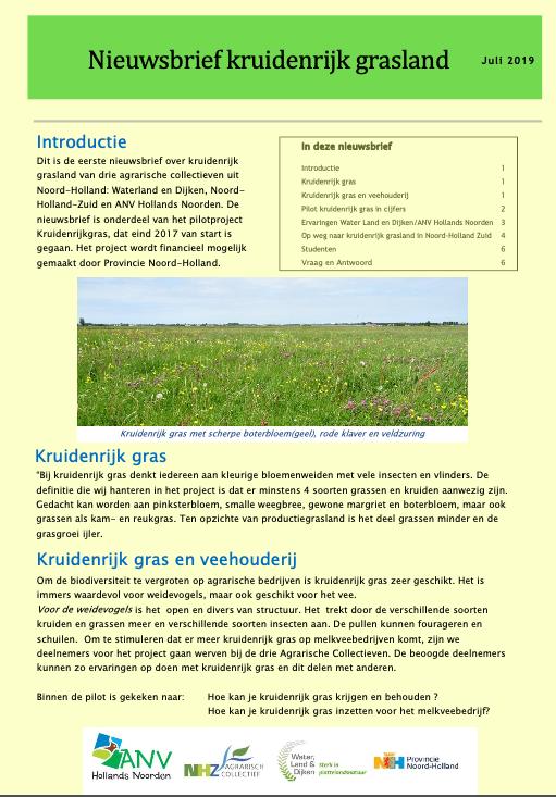 Nieuwsbrief kruidenrijk grasland